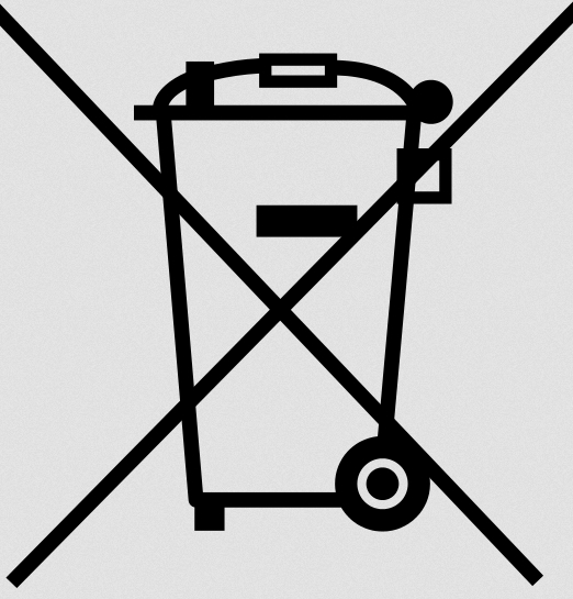 Crossed garbage can symbol